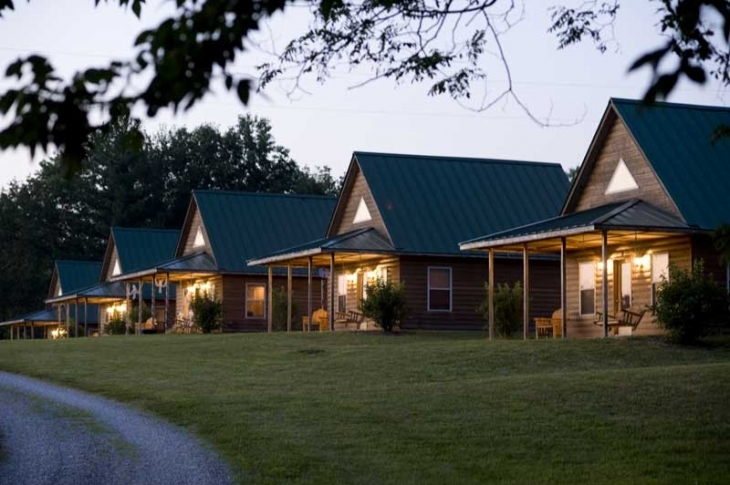 Cabins at dusk